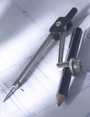 compass on blueprints
