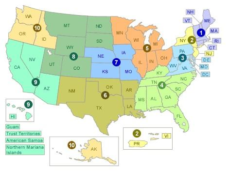 Map showing EPA Regions by state