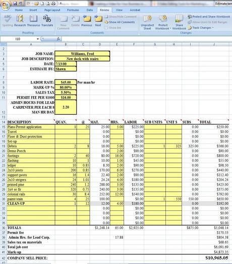 job estimate template – Job Estimate Sheet