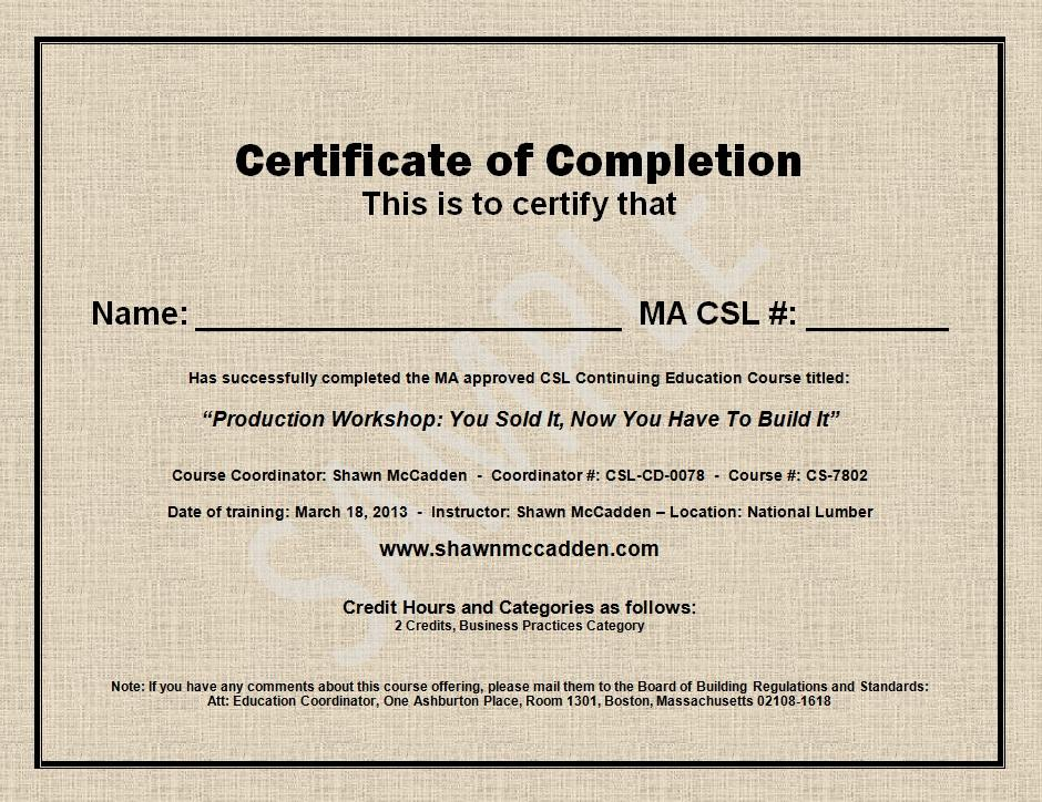Here Is A Sample Certificate Of Completion  Building Completion Certificate Sample