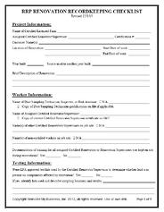 EPA RRP Renovation Checklist