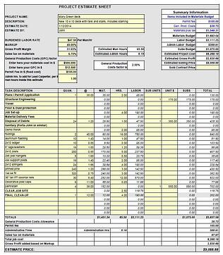 McCadden's new estimate template