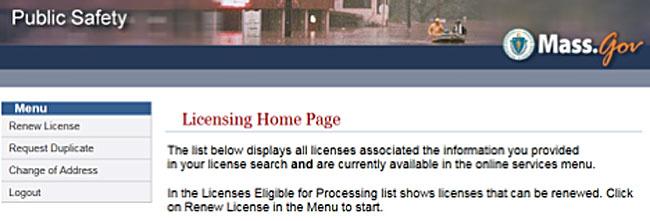 ma.gov licensing home page