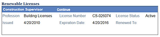 """Application for Licensee Renewal"""" page:"""
